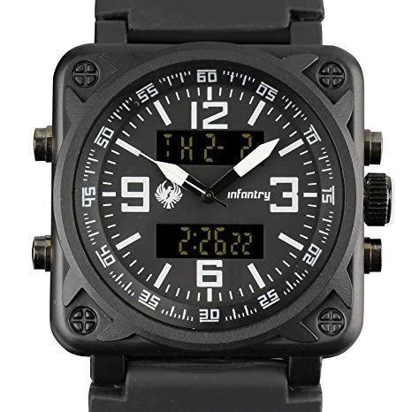 Infantry Stainless Steel Slim Men Watch Relojes de Hombre Quartz Sport Black Face Rubber Band Strap