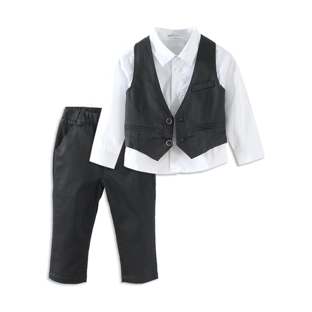 Mud Kingdom Boys Suits for Weddings White Shirts, Vests and Pants Clothes Sets ZT0482