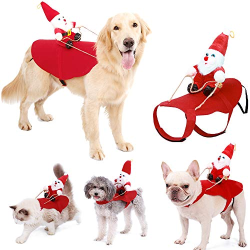 Pet Christmas Costumes for Dogs Cats, Funny Puppy Santa Claus Clothes, Small Mediunm Dogs Adjustable & Durable Felt…