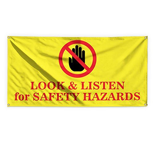 Look 7 Listen For Safety Hazards Outdoor Advertising Printing Vinyl Banner Sign With Grommets - 5ftx12ft, 12 Grommets (Listen Banner)