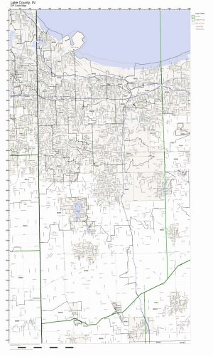 Lake County, Indiana IN ZIP Code Map Not Laminated - Lake County Wall Map