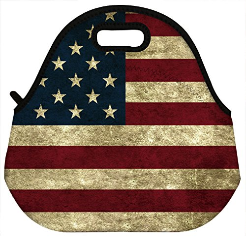 Flag Lunch - VIPbuy Waterproof Thermal Insulated Neoprene Lunch Bag Lunchboxes Container , American Flag Pattern