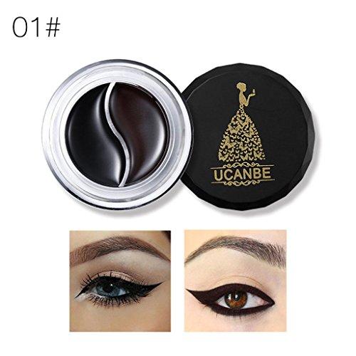 Creazy Waterproof Two Color Eyeliner Gel Eye Makeup Eye Liner Cream With Brush Kit (A)