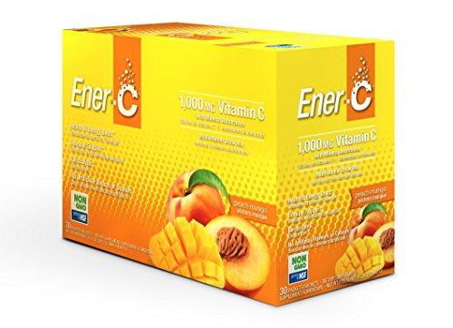 Powder Packets Effervescent (Ener-C Peach Mango Effervescent Multivitamin Non-GMO Gluten-Free Vegan Powdered Fruit Juice Drink Mix for Immune Support and Hydration with Electrolytes 30 Packets)