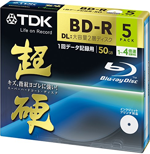 TDK Blu-ray BD-R Disk for PC Data | Super Hard Coating Surface | 50GB (DL) 4x Speed 5 Pack (Japanese Import) by TDK Media