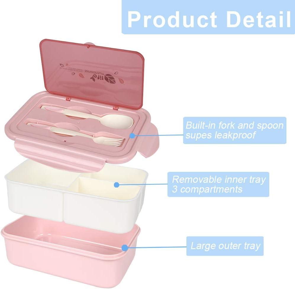 Fiambrera Infantil Verde Aoligei Fiambrera Compartimentos Caja de Bento con 3 Compartimentos y Cubiertos Fiambreras Caja de Alimentos Ideal para Almuerzo y Bocadillos para Ni/ños y Adultos