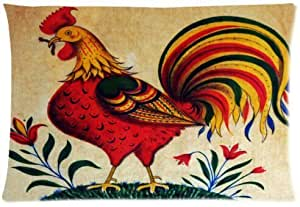 Rooster Soft Zippered Cushion Throw Case Pillow Case 20x30 inch (one side) Best Gift