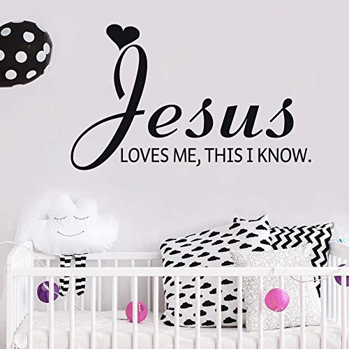 MoharWall Nursery Wall Decal Christian Religion Quote Kids Room Stickers Decor - Jesus Love Me, This I Know