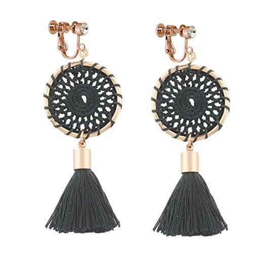 (Dangle Rhinestone Clip on Earrings Handmade Bohemian Long Thread Tassel Vintage Ethnic Jewelry Black)