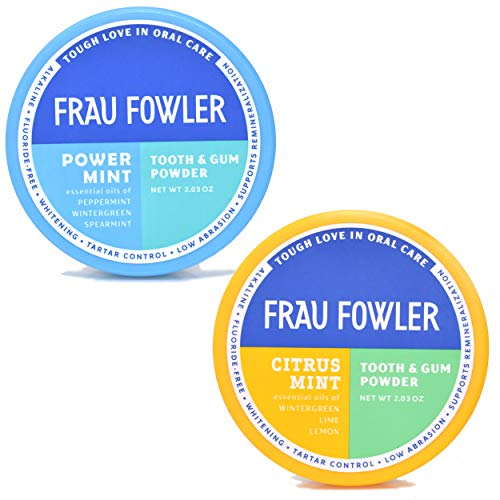 Frau Fowler Natural Oral Care – CITRUS MINT & POWER MINT Tooth Powder, 2 Pack, Botanically Clean, Teeth-Whitening, Remineralizing, Fluoride Free, Gluten Free, SLS Free