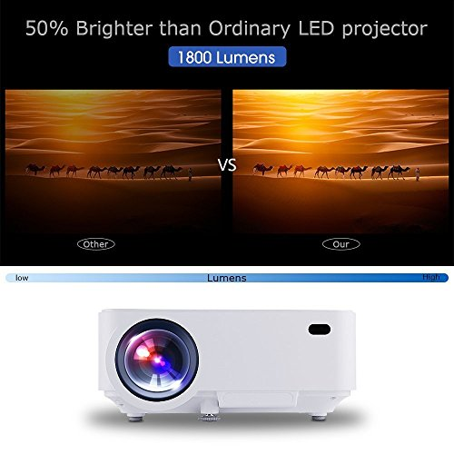 All-new Projector, SPACEKEY P2 Mini Portable Projector,Multimedia Home Theater Video Projector Support 1080P with HDMI, USB, VGA, AV ports for Home Cinema