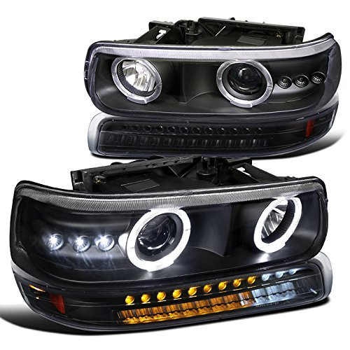 Chevy Tahoe Suburban Black LED Halo Projector Headlights+LED Bumper Lights