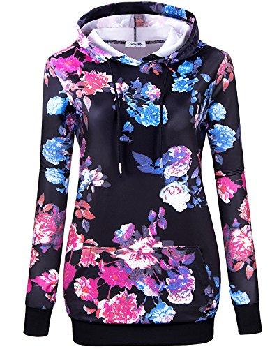 YaYa Bay Lightweight Hoodies, Womens Fashion Cool Blue Floral Printed Hoodie Sweatshirts Pullover Crewneck Long Sleeve Hooded Front Kangaroo Pocket Lightweight Tunic Hoodie 2X Large (Bay Hoody)