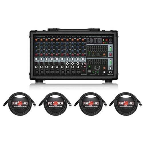 (Behringer EUROPOWER PMP2000D 2000-Watt 14-Channel Powered Mixer - with 4X 15' 8mm XLR Microphone Cable)