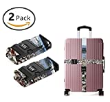 YEAHSPACE Adjustable Luggage Strap Sea Glass Straps TSA 3-dial Combination Lock Heavy Duty 2-Pack