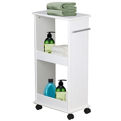 New White Cart Narrow Slimline Rolling Storage Shelf Bathroom Kitchen Space  Saver