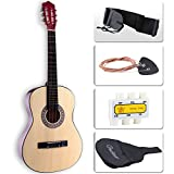 LAGRIMA Beginners Acoustic Guitar w/Guitar Case, Strap, Tuner & Pick Steel Strings Brown
