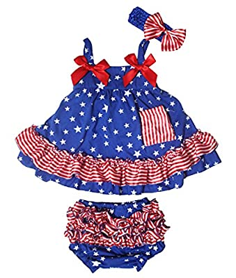 Petitebella 4th July Patriotic Stars Blue Swing Top Striped Baby Bloomer Nb-24m