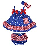Petitebella 4th July Patriotic Stars Blue Swing Top Striped Baby Bloomer Nb-24m (12-24 Months)