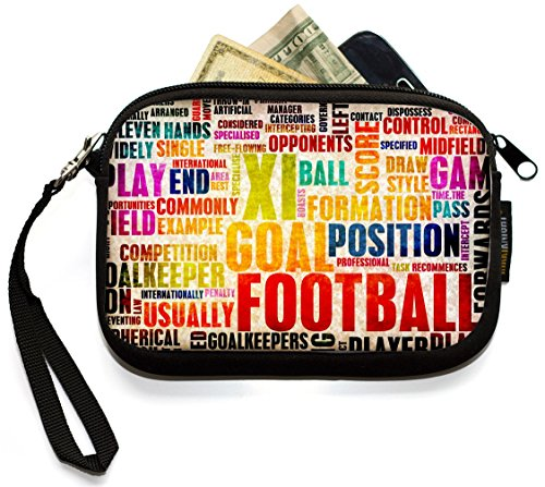 Rikki Knight Football & Soccer Words - Neoprene Clutch Wristlet Coin Purse with Safety Closure - Ideal case for Cosmetics Case, Camera Case, Cell Phones, Passport, etc.. Brown Football Collage