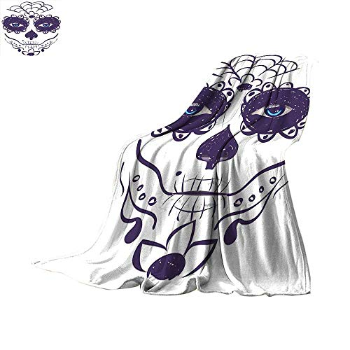 - Day of The Dead Decor Throw Blanket Dia de Los Muertos Sugar Skull Girl Face with Mask Make up Warm Microfiber All Season Blanket for Bed or Couch 50 x 30 inch Black White and Blue