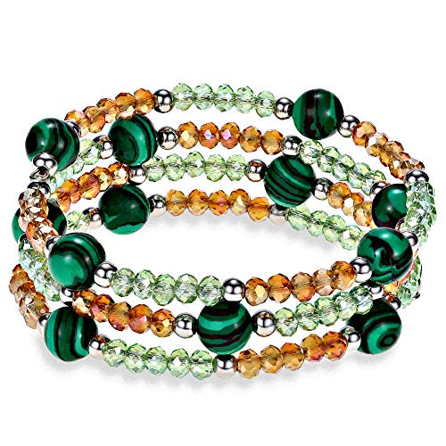 Lateefah Malachite Crystal Beads Wrap Yoga Bracelet Fashion Boho Jewelry Multilayer Charm Bracelets for Women Girls