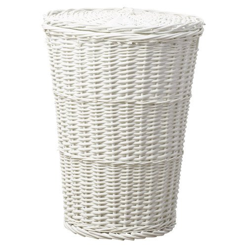 Traditional Style Jordyn Round Laundry Room Basket with Matching Lid Made with Willow Wood in White 22'' H x 16'' W x 16'' D