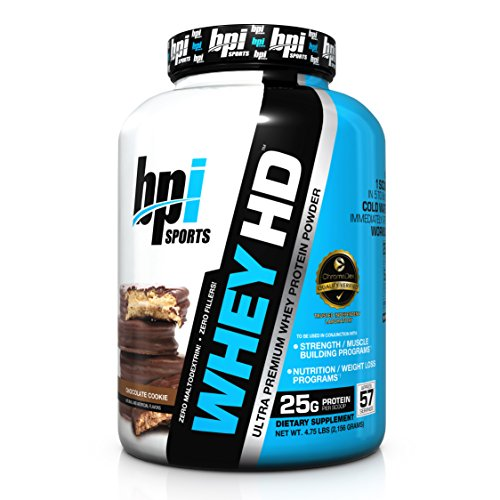 BPI Sports Whey-HD Ultra Premium Whey Protein Powder, Chocolate Cookie, 4.75 Pound (Ultra Premium Whey Protein Powder)