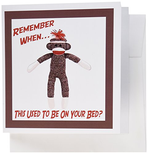 (3dRose Sock Monkey - Greeting Cards, 6 x 6 inches, set of 12 (gc_13474_2))