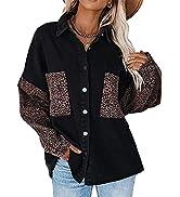 Tanming Women's Fall Color Block Denim Jacket Oversized Shacket Button Down Shirt