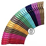 Ribbon Hair Bands No Tangle No Crease Ties - Rainbow Color 30 Pack