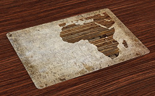 Ambesonne African Place Mats Set of 4, Geography Theme Grunge Vintage Wooden Plank and Africa Map Digital Print, Washable Fabric Placemats for Dining Room Kitchen Table Decor, Tan Umber and Brown