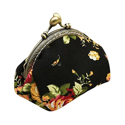 Women Hasp Kimanli Vintage Girls Black Retro Wallet Bag Lady Clutch Purse Small Flower White wxFqwvY