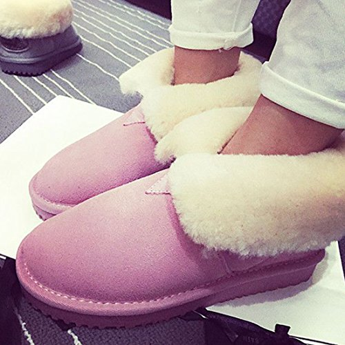 Lined Women's Boots BULL Suede Winter Ankle Boots Shearling Skidproof Leather Pink TITAN Snow ff0q5pwP
