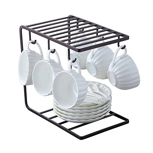 - 7U Metal Coffee Mug Cup Holder Organizer Stand for Cabinet, Counter, Desk | Kitchen Drying Display Rack with 6 Hooks for Large Mug - 9.5 x 9.1Inch (Black)