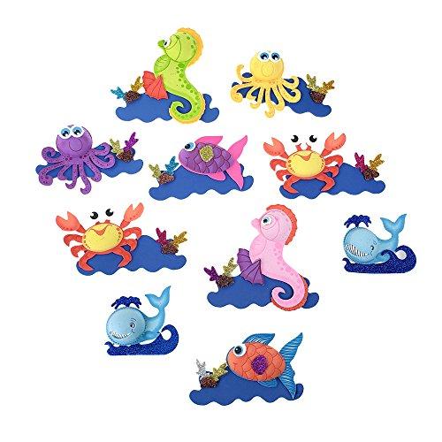 Homeford Foam Sea Creature Cutouts, Assorted Animals (Sea Die Cut Stickers)
