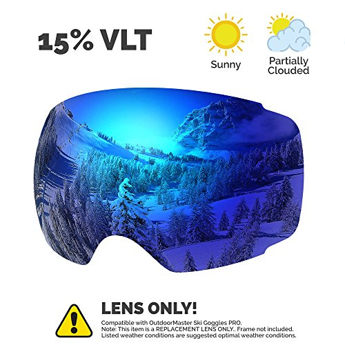 OutdoorMaster Ski & Snowboard Detachable Dual Layer Anti-Fog Goggle Lens Only ( VLT 15% Blue Lens with Free Carrying Pouch (Blue Lens)