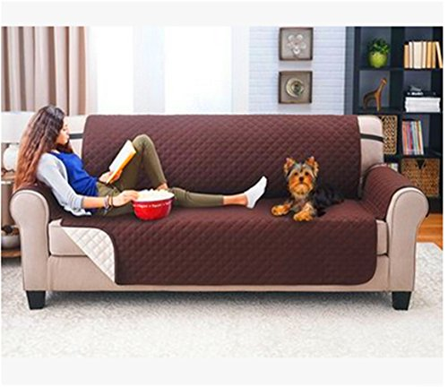 Seiyue Water Sofa Cover Anti-skid Dirt-proof Sofa Protector Suede Pet Dog Cushion Sofa Covers (Coffee, 3 Sofa Seats)