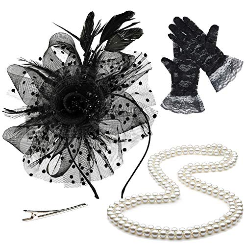 ZeroShop Fascinators Hats for Womens,Cocktail Party Hat,Tea Party Dress Headband,w/Pearl Necklace & Lace Gloves,Black -