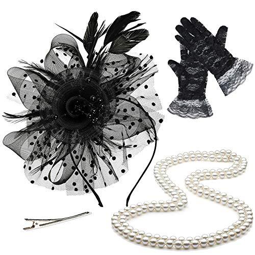 - ZeroShop Fascinators Hats for Womens,Cocktail Party Hat,Tea Party Dress Headband,w/Pearl Necklace & Lace Gloves,Black