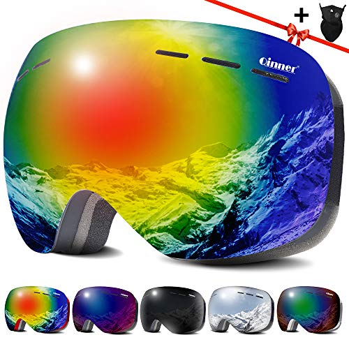 Qinner OTG Ski Goggles -Anti Fog UV Protection Snowboard Goggles with Free Ski Mask - Helmet Compatible Windproof Double Lens Snow Goggles for Men Women Youth | Skiing Skating Outdoor Sports