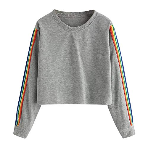 DaySeventh Womens Long Sleeve Rainbow Patchwork O Neck Sweatshirt Casual Blouse Pullover