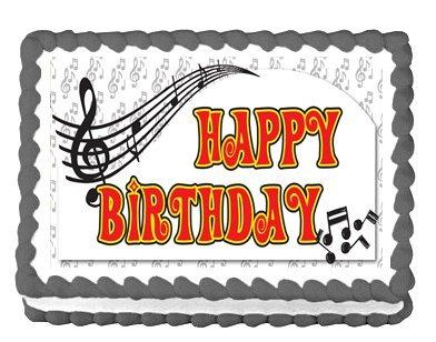Happy Birthday Music Notes - CakeSupplyShop Item#46158 Happy Birthday Music Notes Edible Cake Topper