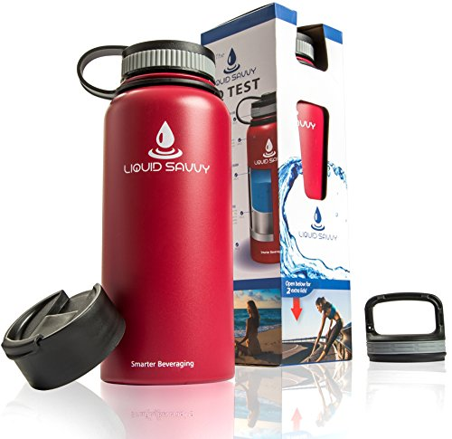 Liquid Savvy 32 oz Insulated Water Bottle with 3 lids - Stainless Steel, Wide Mouth Double Walled Vacuum Insulated Bottle for Hot and Cold Beverages (Double Walled Bottle)