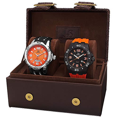 Joshua & Sons Men's JX113OR Silver and Black Quartz Watch Set Includes JX115OR & JX110OR Orange and Black Silicone Strap ()