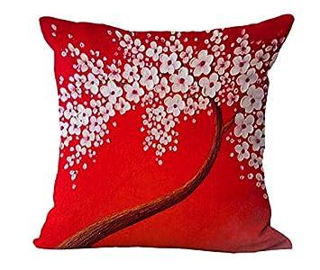 Amazon.com: YANG XUE ZHI Oil Painting Tree Cushion Cover ...