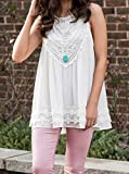 POGTMM Women's Summer Casual Sleeveless Lace Tops Lace Trim Tunic Tops Chiffon Blouses (XL(16-18), White)