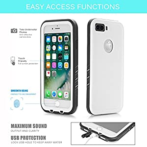 "Floating Waterproof Case for iphone 7 plus with 2 Float Straps and Fisheye lens and Kickstand GUYO Swimming Cover with Touch ID Clear Sound and Touch Screen with IP68 Cover (White for i7P- 5.5"")"