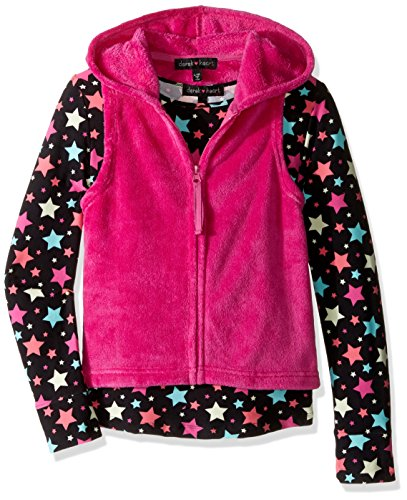 Derek Heart Big Girls' 2 Piece Woobie Solid Hooded Vest with All Over Printed Yummy Tee Set, Black Beauty/Rose Violet, m10/12