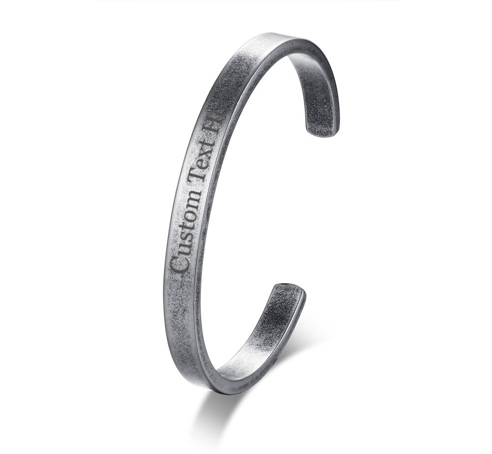 XUANPAI Plain Stainless Steel Cuff Bangle Bracelet Personalized Custom Name Message Gift for Firends